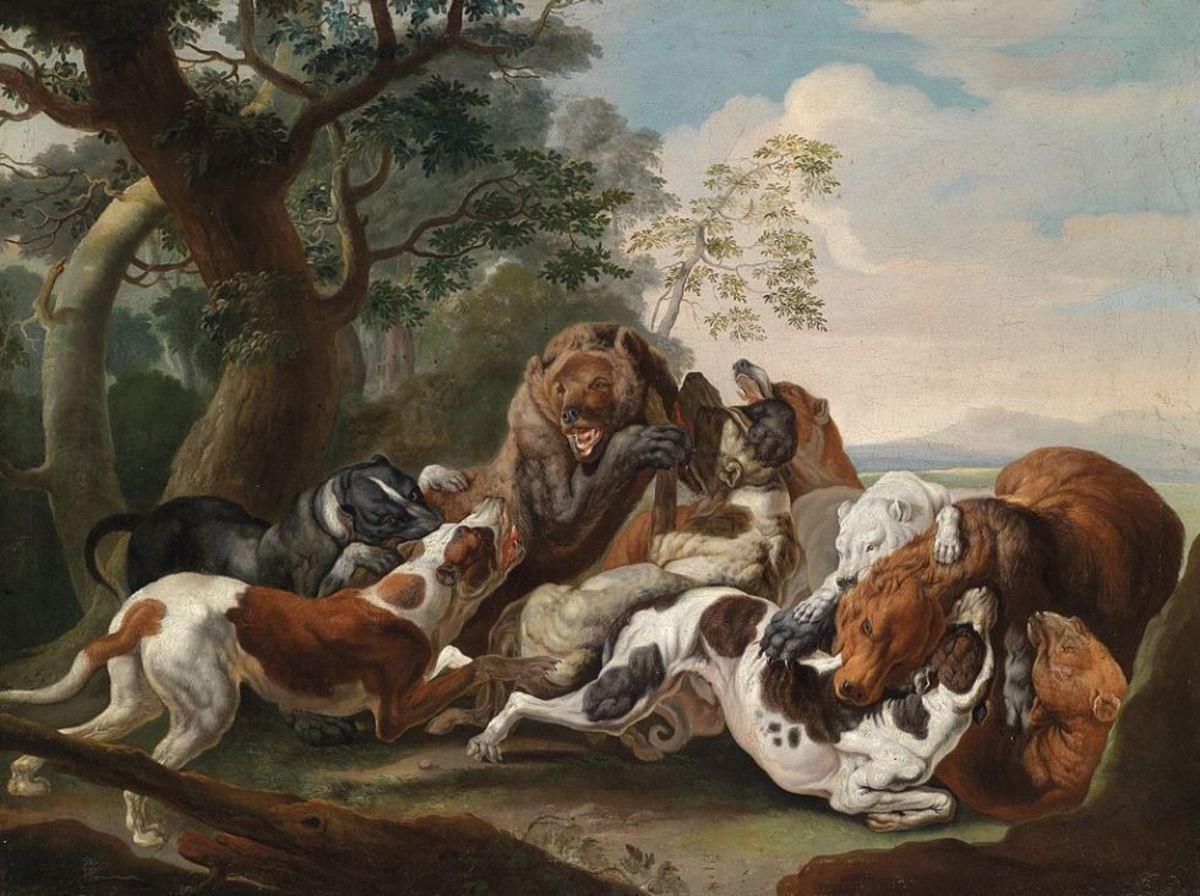 Catch dogs hunting bears, 17th century , painting by Carl Borromäus Andreas Ruthart