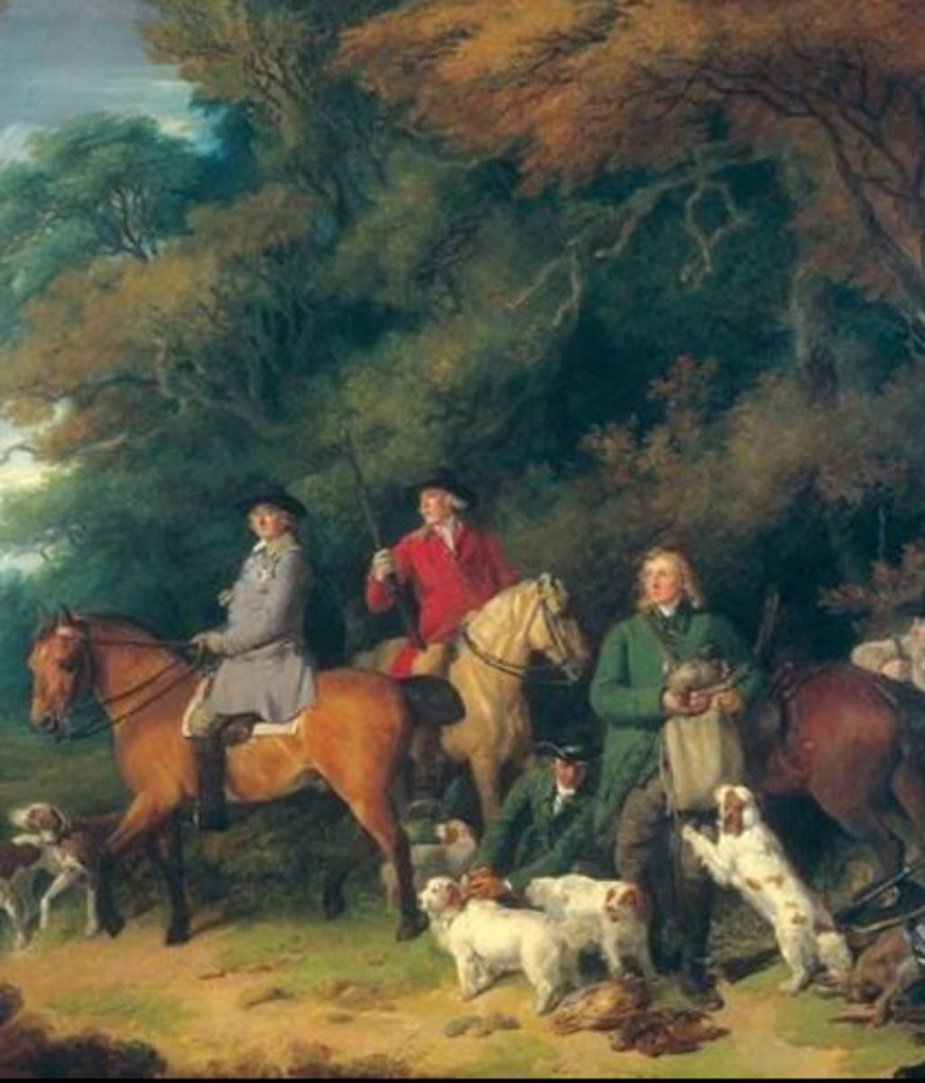 Francis Wheatly painting, Duke of Newcastle seated on his horse and four Clumber Spaniels.