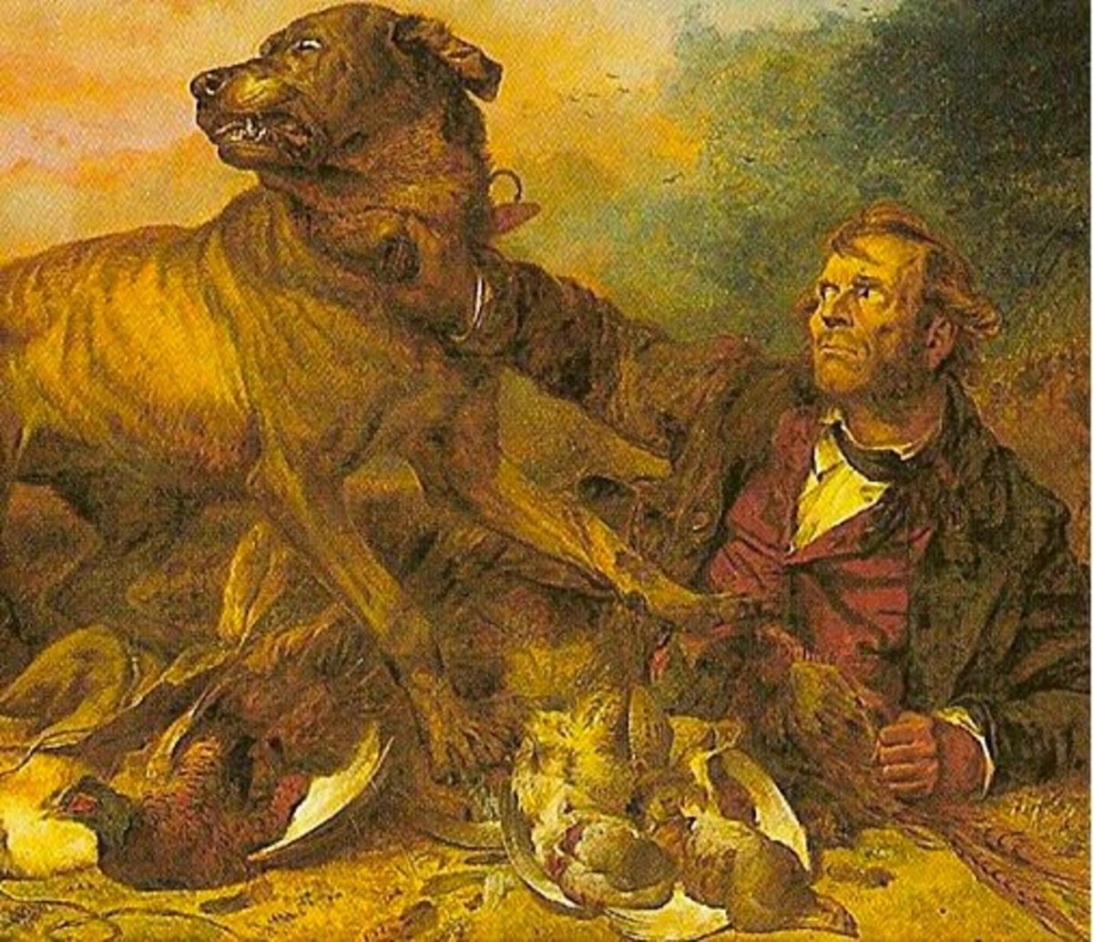 """""""The Poacher at Bay""""  by Richard Andsell, 1865"""