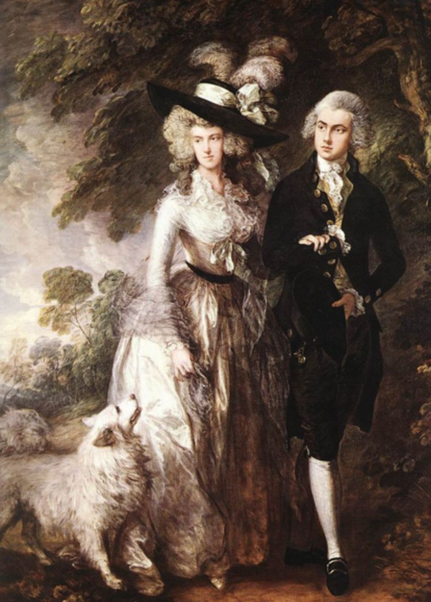 Portrait of Mr and Mrs William Hallett with larger Pomeranian