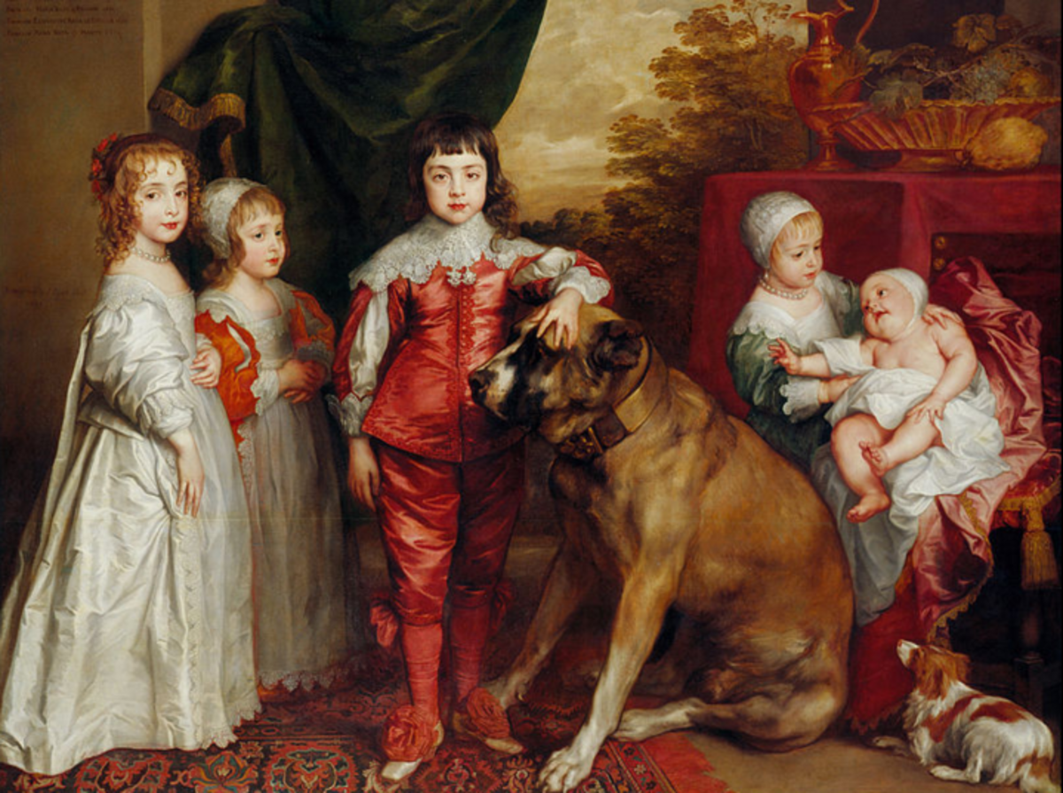 Five children of King Charles I of England featuring a spaniel of the era at the bottom right